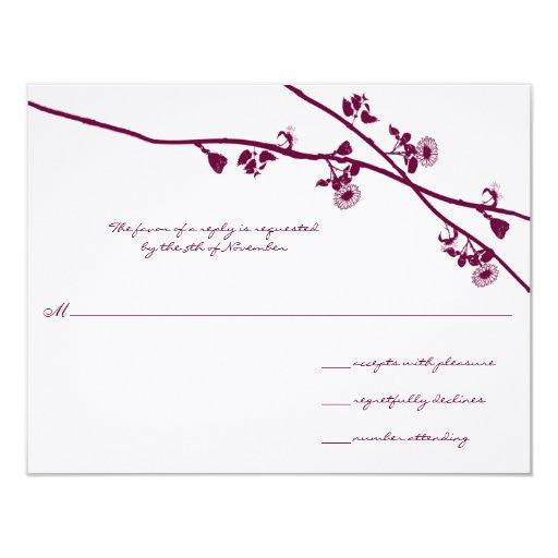 """La flor salvaje del ciruelo ramifica casando RSVP Invitación 4.25"""" X 5.5"""""""