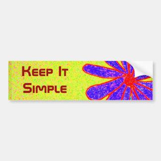 La flor salvaje lo guarda bumpersticker simple pegatina para auto