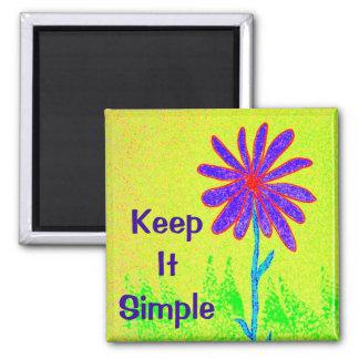 La flor salvaje lo mantiene simple imán cuadrado