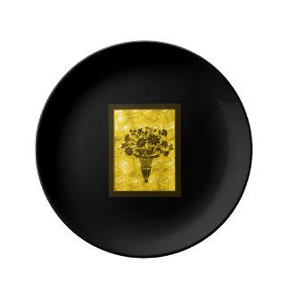 La flor siluetea la placa del pan del oro por Janz Platos De Cerámica