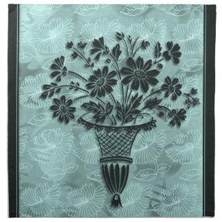 La flor siluetea servilletas de cena ciánicas por