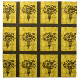 La flor siluetea servilletas de cena del oro por