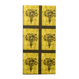 La flor siluetea servilletas del cóctel del oro