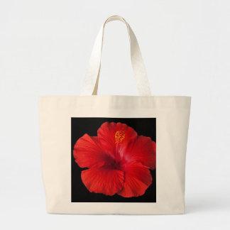 La flor tropical del hibisco rojo florece floral bolsa de tela grande