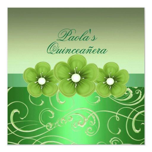 """La flor verde y el remolino Quinceañera de la Invitación 5.25"""" X 5.25"""""""