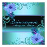 La flor vibrante azul y púrpura Quinceanera invita Invitaciones Personalizada