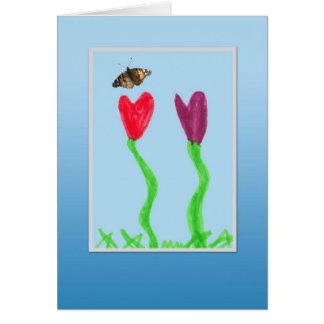 La flor y mariposa - día impresionante del niño tarjetón