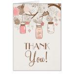La flora rosada de los tarros de albañil del vinta felicitacion