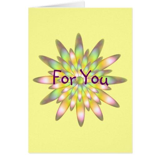 La floración amarilla del arco iris para usted car tarjeta