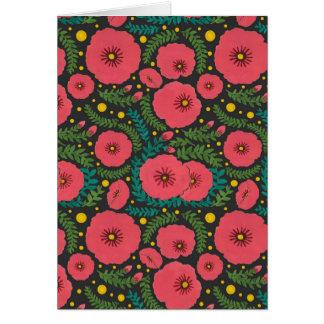 La floración rosada de la flor tarjeta de felicitación