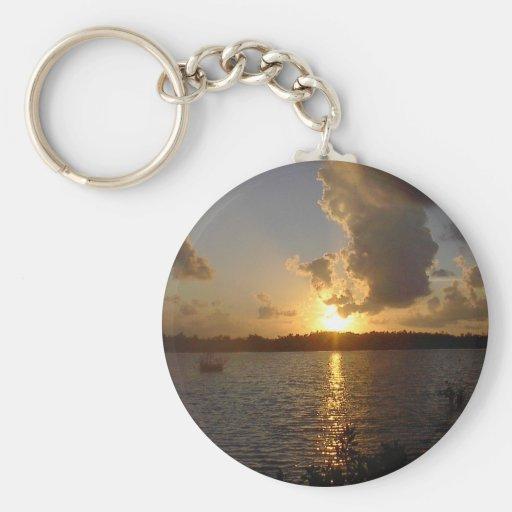 La Florida cierra la puesta del sol 2 Llavero Redondo Tipo Pin