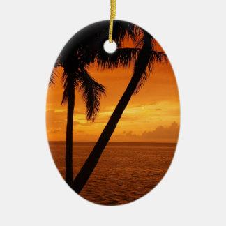 La Florida cierra puesta del sol Adorno Navideño Ovalado De Cerámica