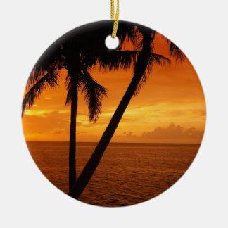 La Florida cierra puesta del sol Adorno Navideño Redondo De Cerámica