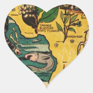 La Florida el estado de la península Pegatina En Forma De Corazón