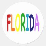 La FLORIDA en un arco iris de colores Etiquetas Redondas