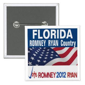 La Florida es botón del país de Romney Ryan Pin Cuadrado