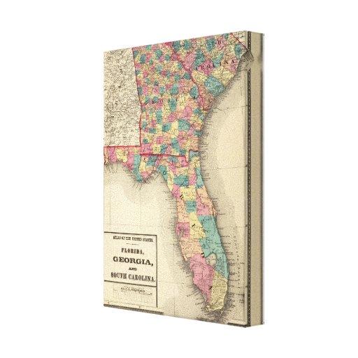 La Florida, Georgia, y Carolina del Sur 2 Impresión En Lienzo