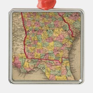 La Florida, Georgia, y Carolina del Sur Adorno Navideño Cuadrado De Metal