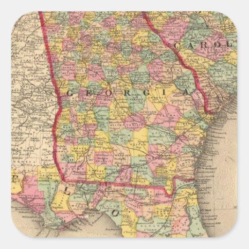 La Florida, Georgia, y Carolina del Sur Pegatina Cuadrada
