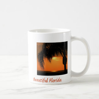 La Florida hermosa, puesta del sol con la palmera, Taza De Café