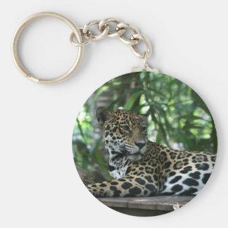 La Florida Jaguar que mira detrás que se acuesta Llavero Redondo Tipo Pin