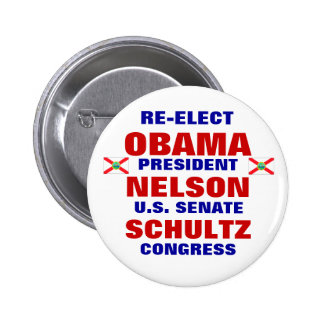 La Florida para Obama Nelson Schultz Pin