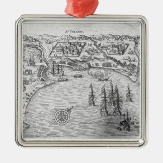 La flota de Joris van Spilbergen (c.1568-1620) con Adorno Cuadrado Plateado