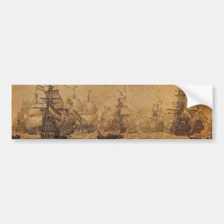 La flota holandesa debajo de la vela de Willem van Etiqueta De Parachoque