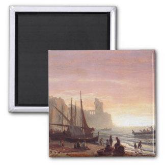 La flota pesquera - Albert Bierstadt Imán Cuadrado