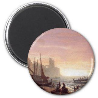 La flota pesquera - Albert Bierstadt Imán Redondo 5 Cm