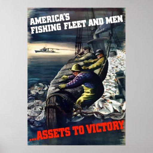 La flota pesquera y los hombres de América Póster