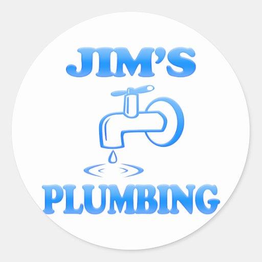 La fontanería de Jim Etiquetas Redondas