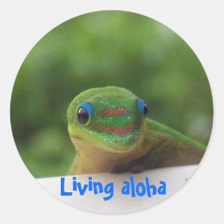 La forma de vida de la hawaiana pegatina redonda