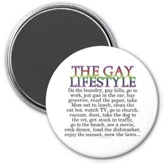 La forma de vida gay imán redondo 7 cm
