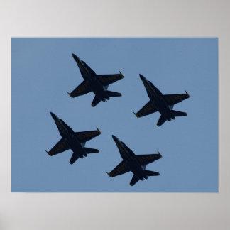 La formación del diamante de los ángeles azules póster