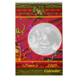 La foto adaptable de los días de fiesta enmarca el calendario de pared