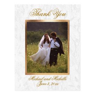 La foto adaptable del boda le agradece postal