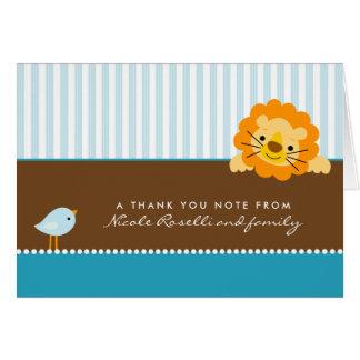La foto adorable del león (dentro) le agradece car tarjeta pequeña