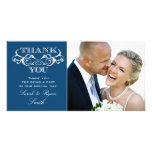 La foto azul del boda del remolino del vintage le  plantilla para tarjeta de foto