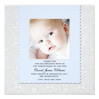 La foto azul divina del damasco agradece invitación 13,3 cm x 13,3cm