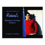 La foto azul moderna de la graduación de Tassle Comunicado