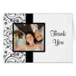La foto blanco y negro del boda le agradece las ta felicitación