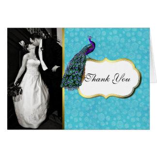 La foto colorida del boda del pavo real le agradec tarjeta pequeña