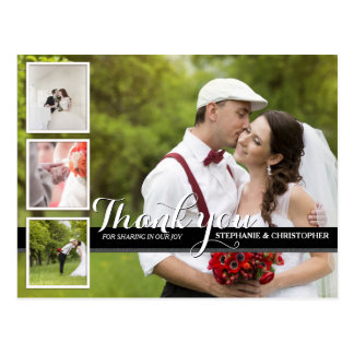 La foto cursiva moderna del boda le agradece postal
