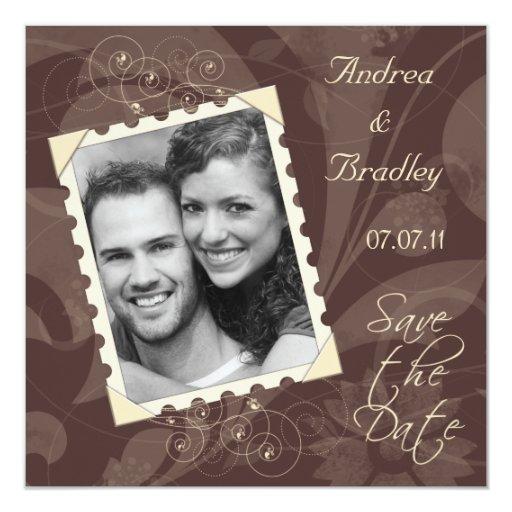 """La foto de Brown y de la marfil ahorra la tarjeta Invitación 5.25"""" X 5.25"""""""