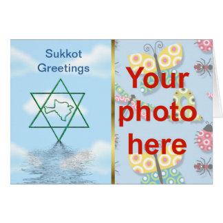 La foto de encargo del día de fiesta judío de Sukk Felicitacion