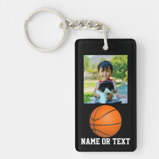 La foto de encargo embroma tema del baloncesto llavero rectangular acrílico a una cara