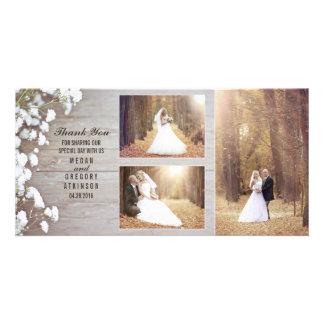 La foto de madera del boda de la respiración del tarjeta fotografica personalizada