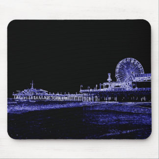 La foto de neón azul de la noche del embarcadero d alfombrillas de raton