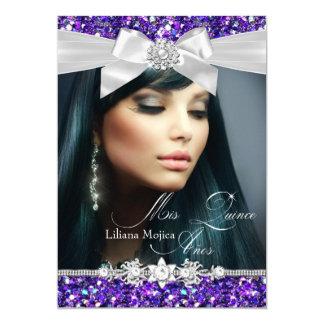 "La foto de plata púrpura Quinceanera del arco del Invitación 5"" X 7"""